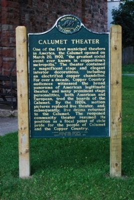 Calumet Theater Marker image. Click for full size.