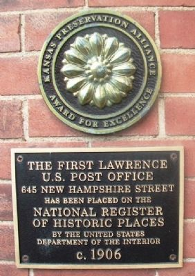 The First Lawrence U.S. Post Office Marker image. Click for full size.