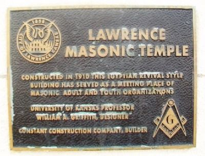 Lawrence Masonic Temple Marker image. Click for full size.