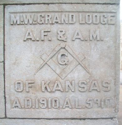 Lawrence Masonic Temple Cornerstone image. Click for full size.