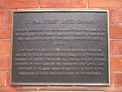 St. Paul Street United Church Marker image. Click for full size.