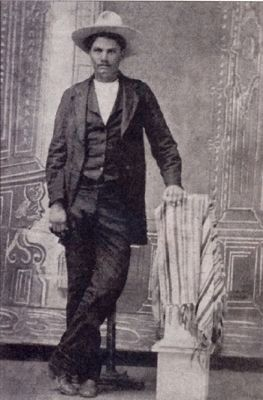 This ferrotype photograph is a mirror image of John Wesley Hardin. image. Click for full size.