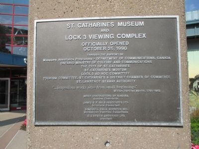 St. Catharines Museum and Lock 3 Viewing Complex Dedication image. Click for full size.