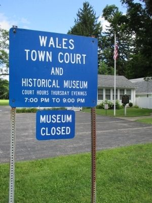 Wales Town Court and Museum Sign image. Click for full size.