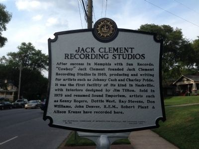 Jack Clement Recording Studios Marker image. Click for full size.