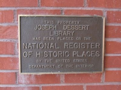 Joseph Dessert Library Plaque image. Click for full size.