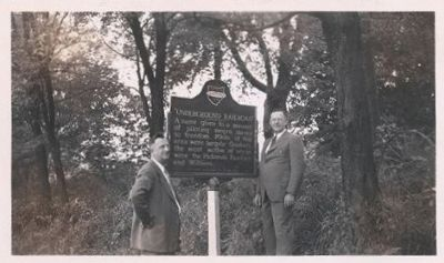 Erecting the Underground Railroad Station Marker image. Click for full size.