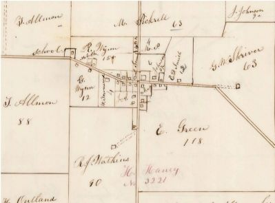 1870 Monroe Township Tax Map, showing the Pickrell property image. Click for full size.