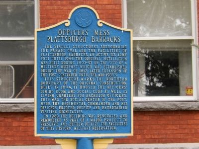 Officers' Mess Plattsburgh Barracks Marker image. Click for full size.