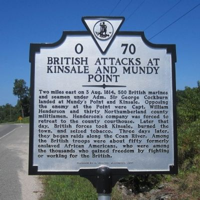 British Attacks at Kinsale and Mundy Point Marker image. Click for full size.