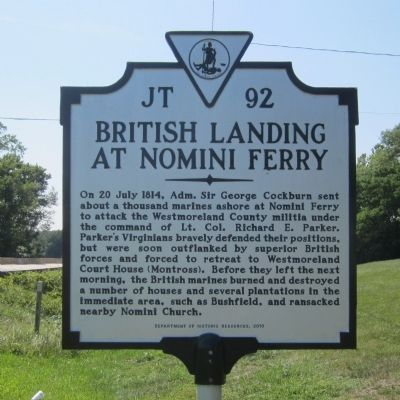 British Landing at Nomini Ferry Marker image. Click for full size.