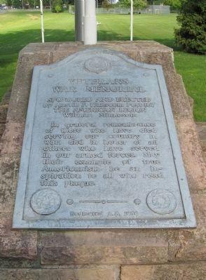 Veterans War Memorial Plaque image. Click for full size.