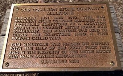 Old Dominion Stone Company Millstone Marker image. Click for full size.