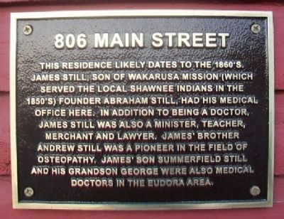 806 Main Street Marker image. Click for full size.
