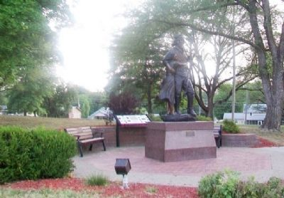 Shawnee Tribal Leader Paschal Fish and his Daughter, Eudora Statue and Marker image. Click for full size.