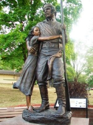 Statue of Shawnee Tribal Leader Paschal Fish and his Daughter, Eudora image. Click for full size.