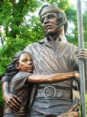 Shawnee Tribal Leader Paschal Fish and his Daughter, Eudora Statue Detail image. Click for full size.