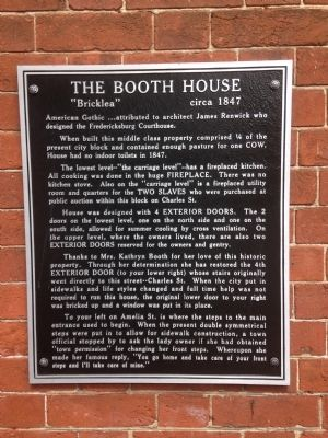 The Booth House Marker image. Click for full size.
