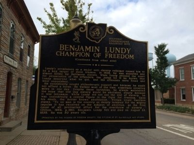 Benjamin Lundy Champion of Freedom Marker image. Click for full size.