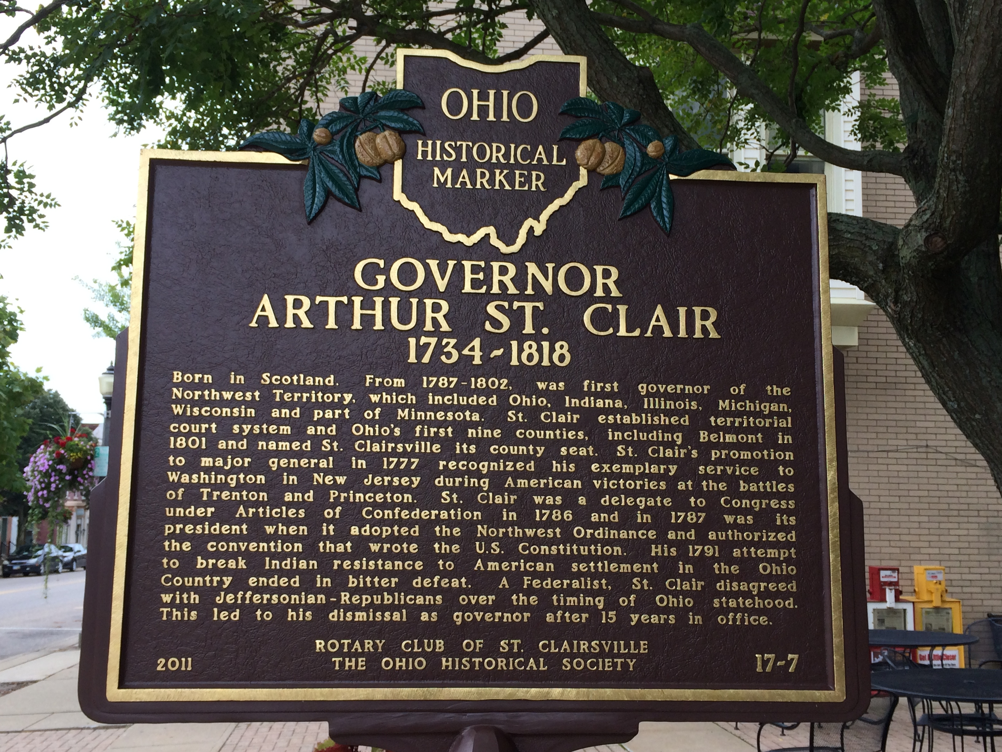 Governor Arthur St. Clair 1734-1818 Marker