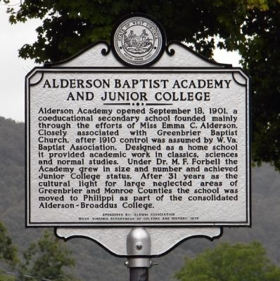Alderson Baptist Academy and Junior College Marker image. Click for full size.