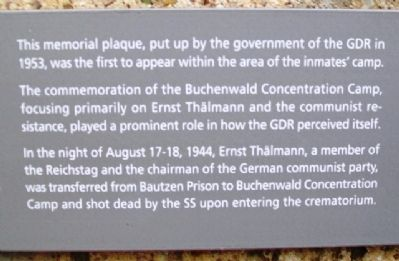 English Text below Ernst Thälmann Marker image. Click for full size.