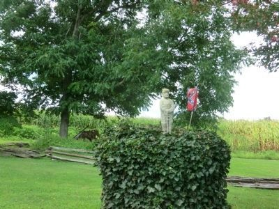 Henry M. Shaw-shrub near residence with Soldier and Confederate Flag image. Click for full size.