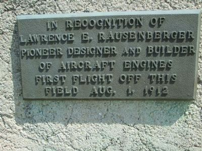 Plaque #1 commemorated Lawrence Rausenberger image. Click for full size.