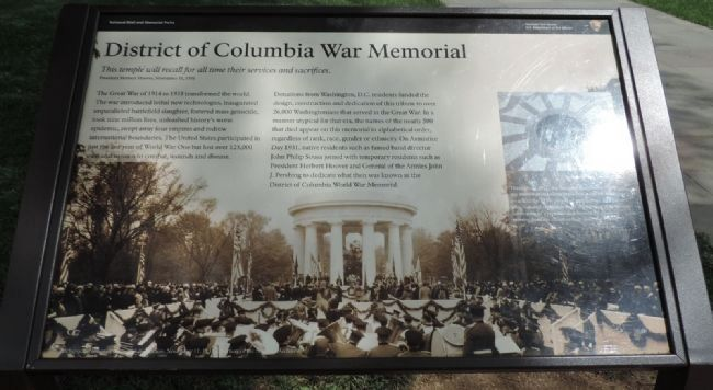 District of Columbia War Memorial Marker image. Click for full size.