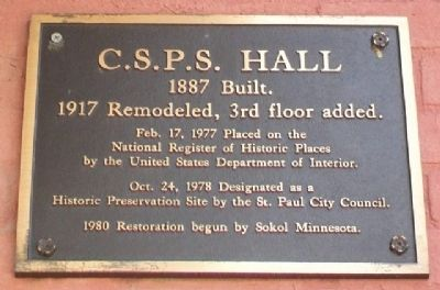 C.S.P.S. Hall NRHP Marker image. Click for full size.