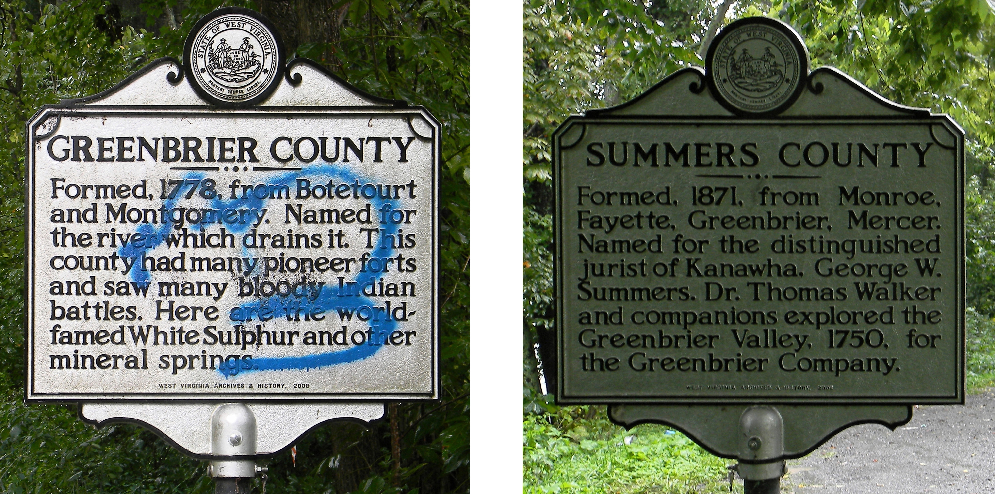 Greenbrier County / Summers County Marker