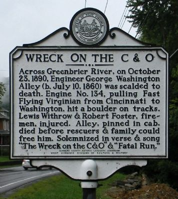 """The Wreck on the C&O"" & Fatal Run"" Marker image. Click for full size."