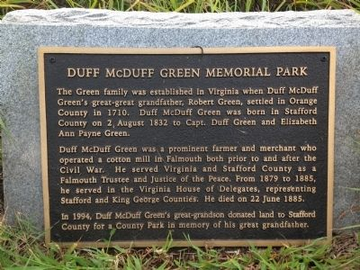 Duff McDuff Green Memorial Park Marker image. Click for full size.