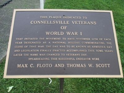Connellsville World War I Plaque image. Click for full size.