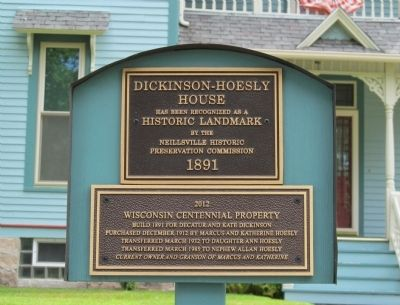 Dickinson-Hoesly House Marker image. Click for full size.