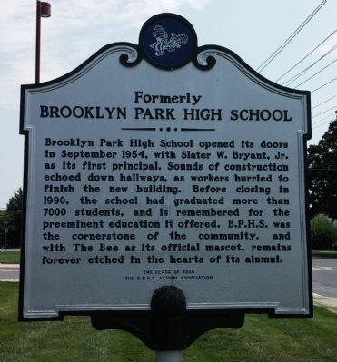 Formerly Brooklyn Park High School Marker image. Click for full size.