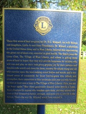 West Liberty Lion's Club Park Marker image. Click for full size.