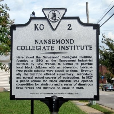 Nansemond Collegiate Institute Marker image. Click for full size.