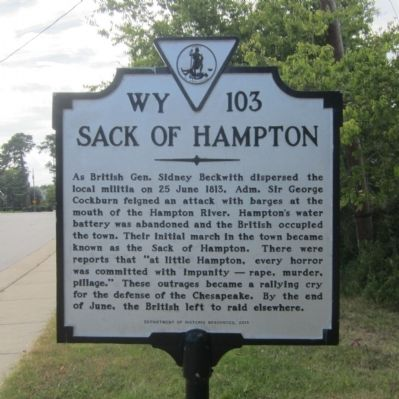 Sack of Hampton Marker image. Click for full size.