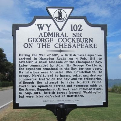 Admiral Sir George Cockburn on the Chesapeake Marker image. Click for full size.
