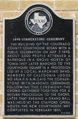 1890 Cornerstone Ceremony Marker image. Click for full size.