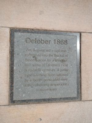 October 1868 Plaque, Laramie Timeline Marker image. Click for full size.