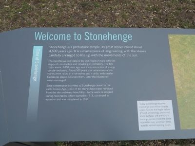 Welcome to Stonehenge Marker image. Click for full size.