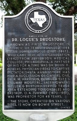 Early Site of Doctor Logue's Drugstore Marker image. Click for full size.