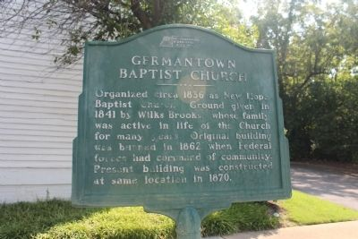 Germantown Baptist Church Marker image. Click for full size.