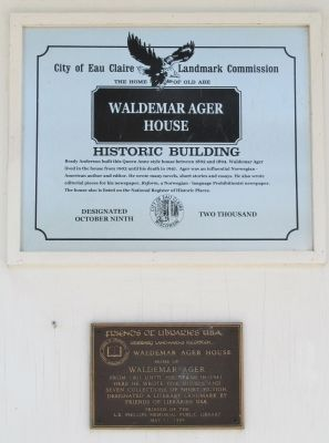 Waldemar Ager House Markers image. Click for full size.