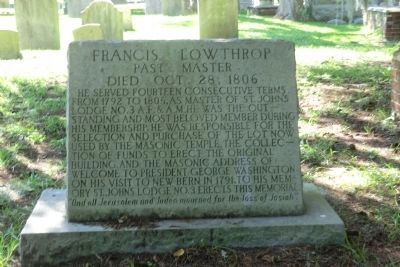 Cedar Grove Cemetery-Francis Lowthtop Past Master image. Click for full size.