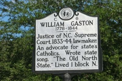 William Gaston Marker image. Click for full size.