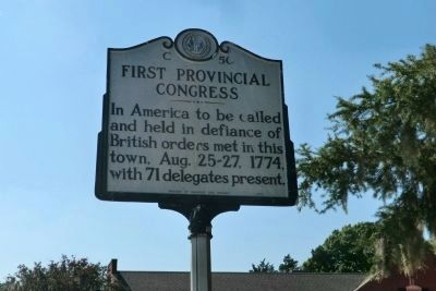 First Provincial Congress Marker image. Click for full size.