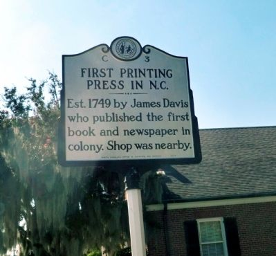 First Printing Press In N.C. Marker image. Click for full size.